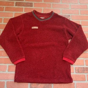 Columbia Sherpa Pullover Red Crewneck Sweater